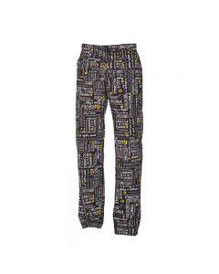 Pantalones de cocina Alan de Giblor Arte del menú negro. 14P08P477
